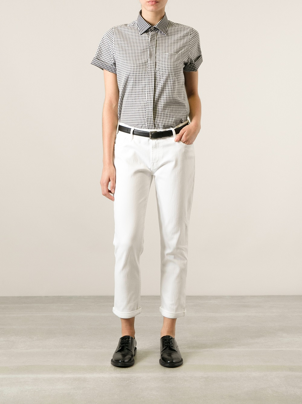 Mother The Dropout Slim Jeans in White | Lyst