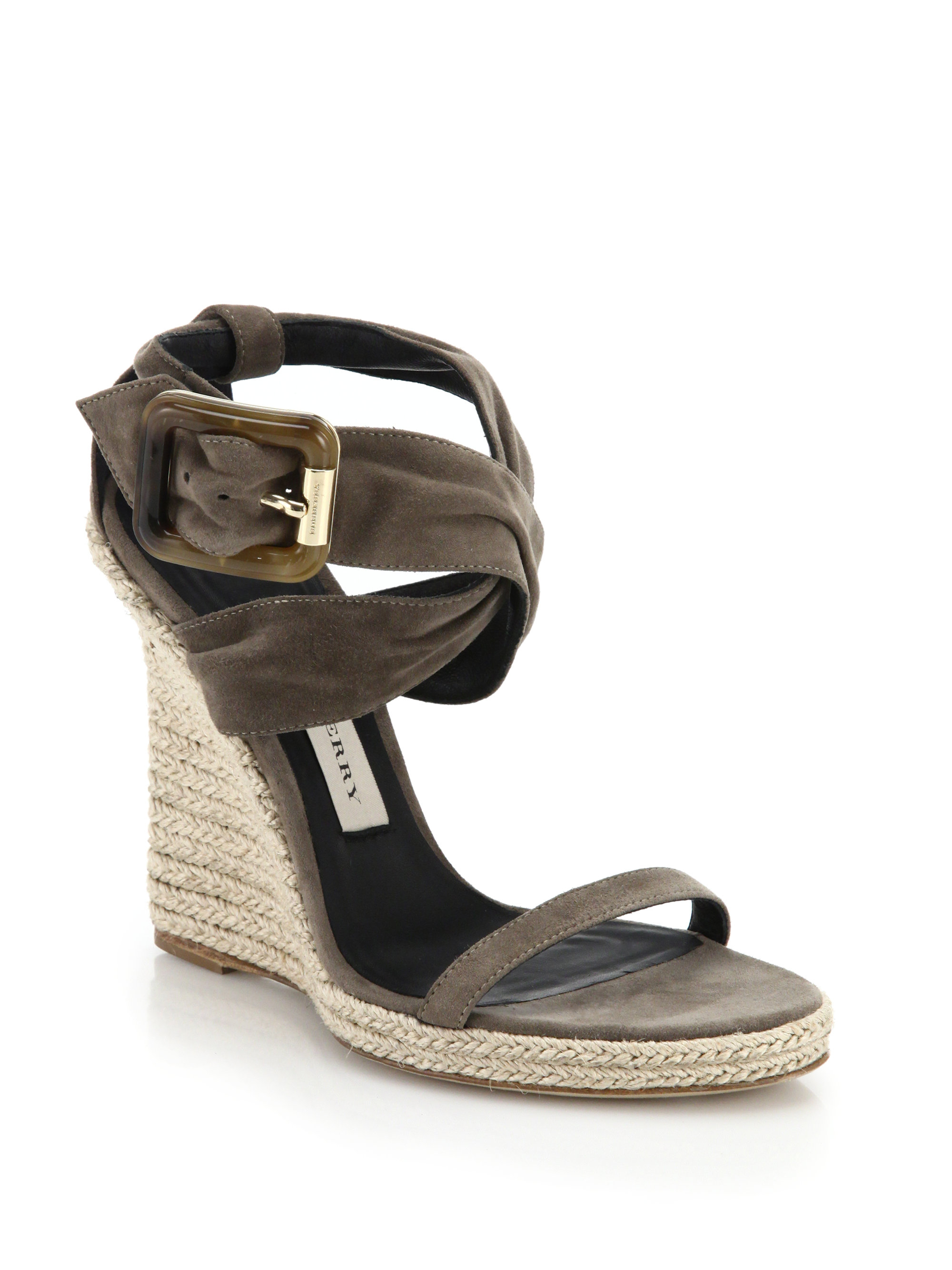 83854e34b37 Lyst - Burberry Catsbrook Suede Espadrille Wedge Sandals in Gray