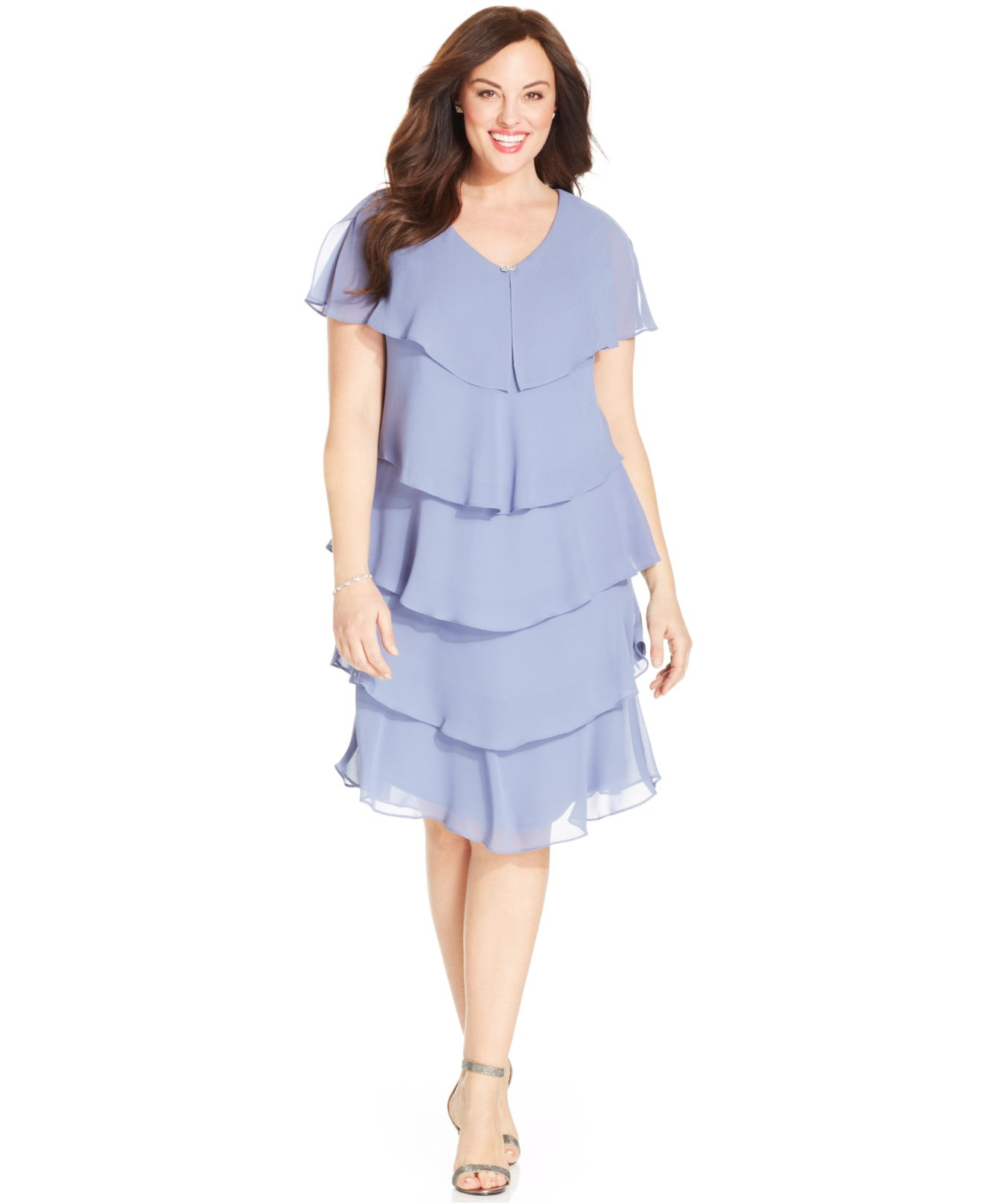 Patra Plus Size Short-sleeve Tiered Dress in Blue - Lyst