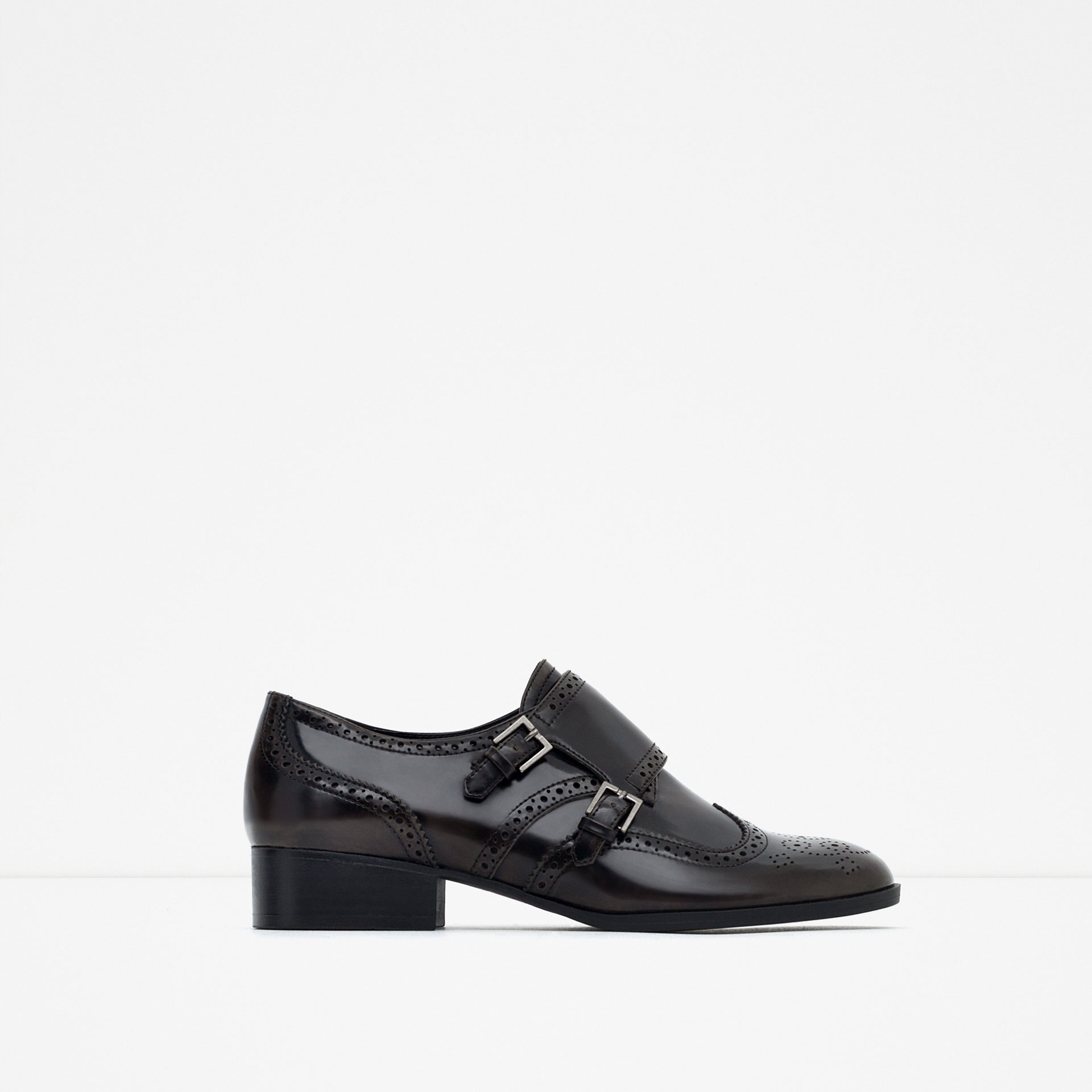 Zara Flat Shoes With Brogue Detail In Brown Lyst