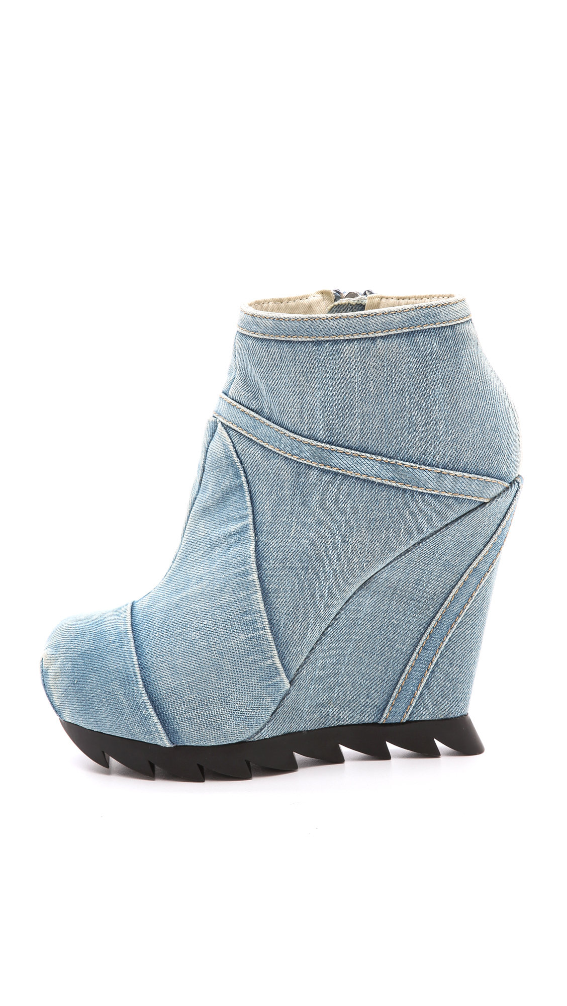 781c4d61b52 Lyst - Camilla Skovgaard Seams Denim Wedge Booties in Blue
