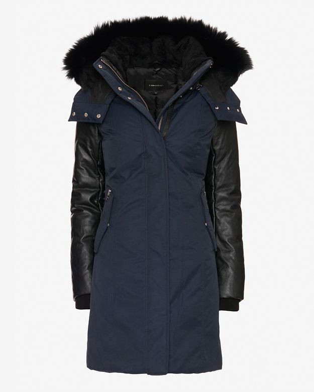 Mackage Exclusive Kerry Fur Trim/leather Sleeve Parka in Blue | Lyst
