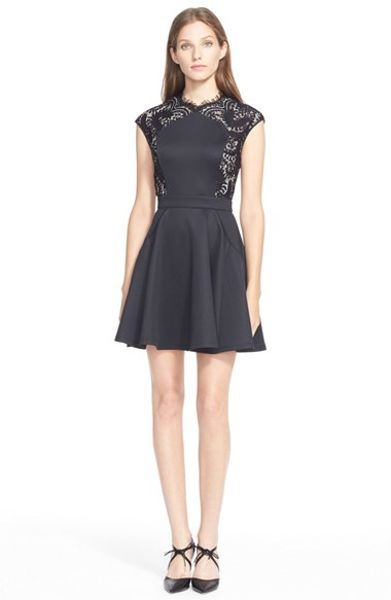 Ted Baker Vivace Fit Amp Flare Dress In Black Lyst