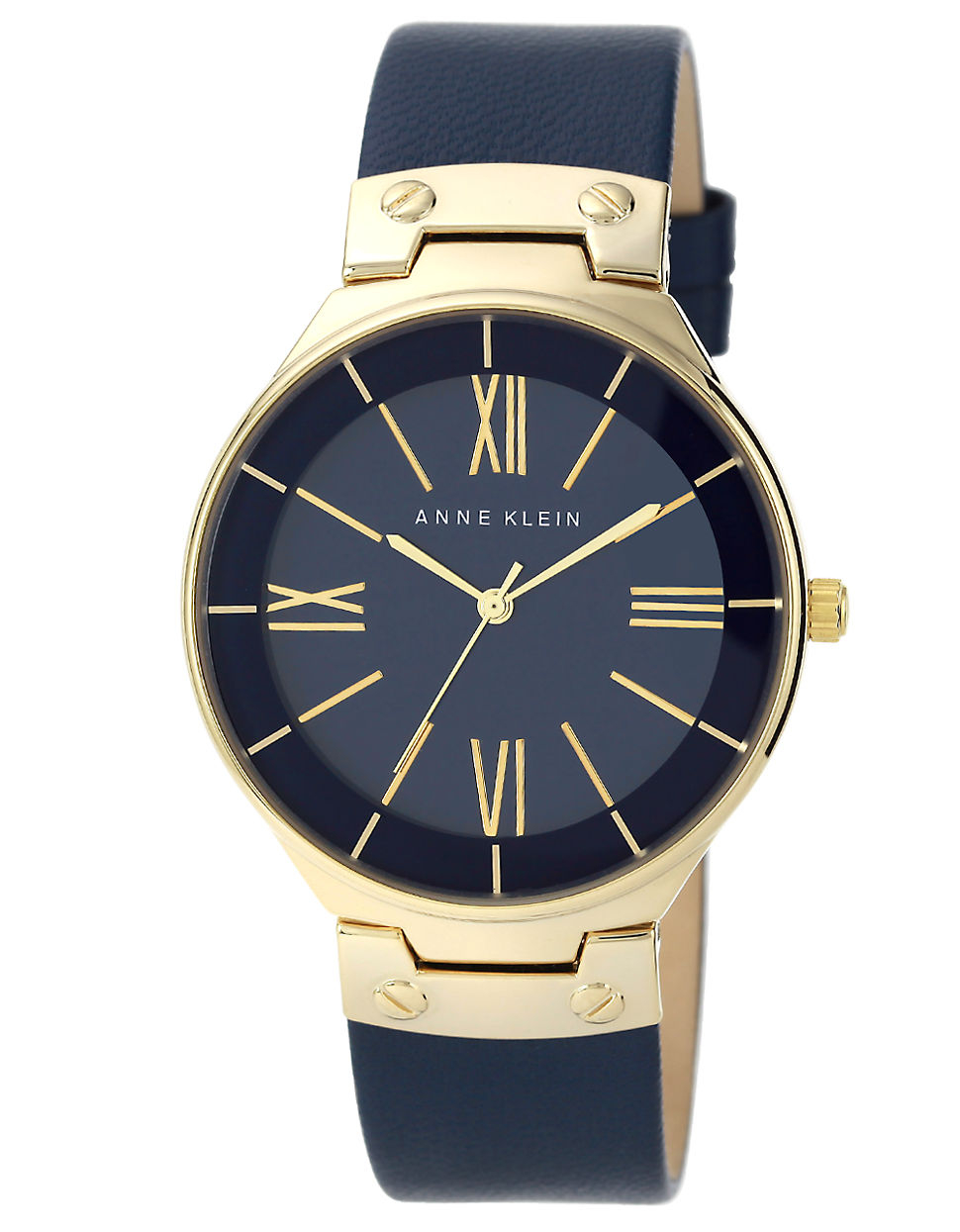 Anne klein ladies goldtone navy watch with leather strap in blue navy lyst for Anne klein leather strap