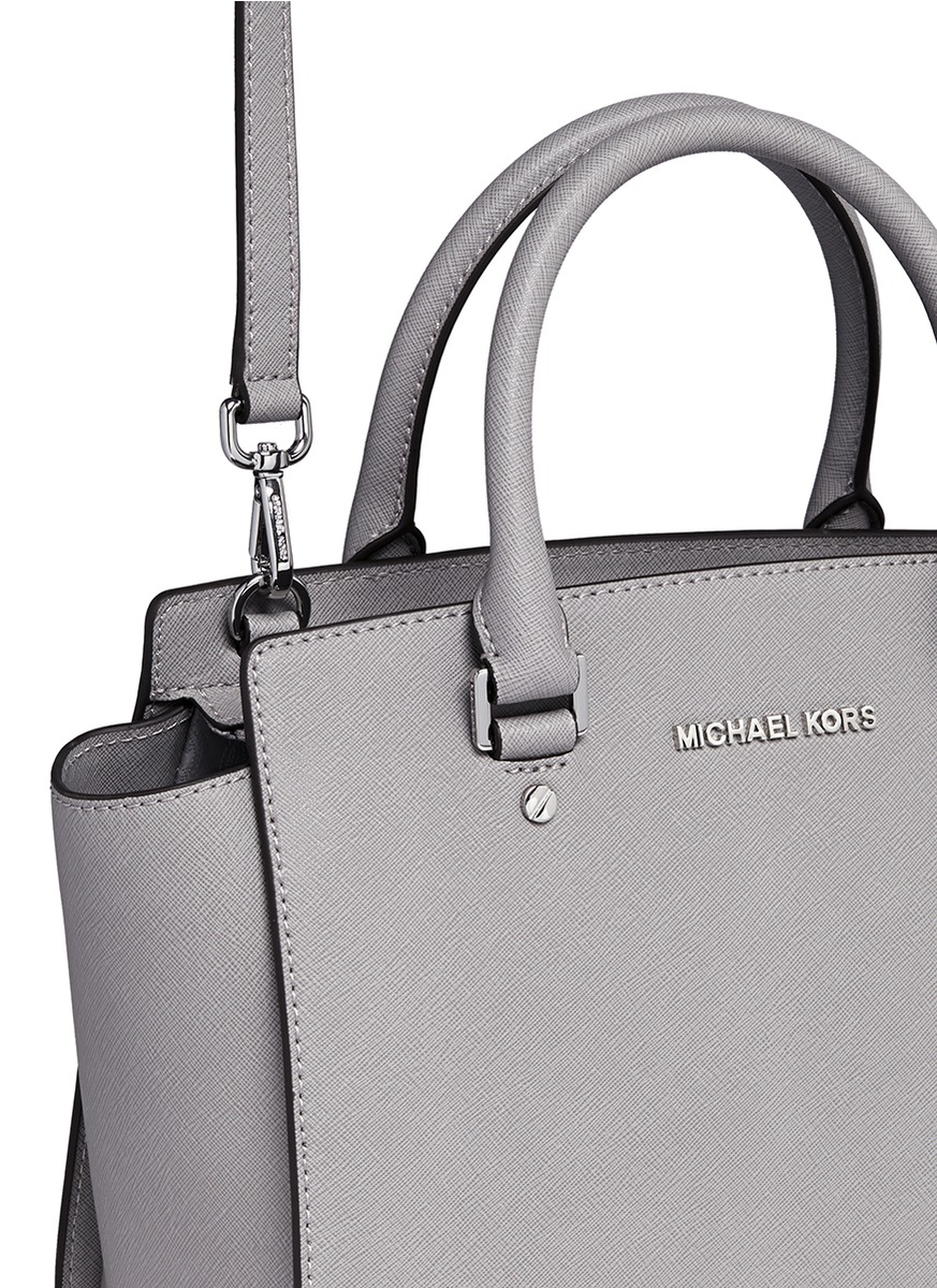bca32b4fa33e4 ... new style lyst michael kors selma medium saffiano leather satchel in  gray 84507 1b635