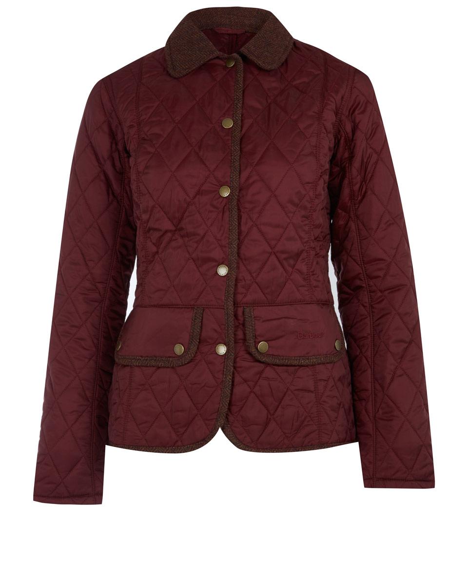 Barbour Burgundy Vintage Tweed Quilted Jacket In Purple Lyst