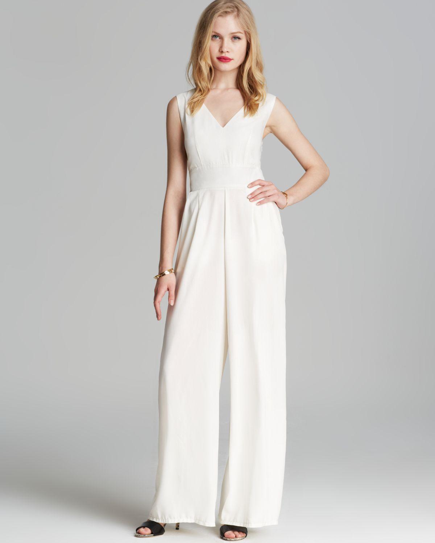 e64a39576f8 Lyst - Alythea Wide-Leg Cross-Back Jumpsuit in White
