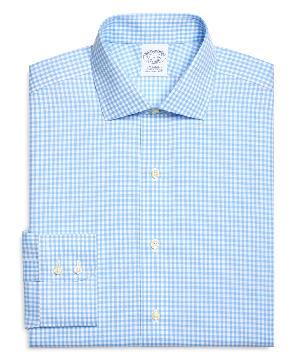 Lyst brooks brothers non iron slim fit gingham check for Blue check dress shirt