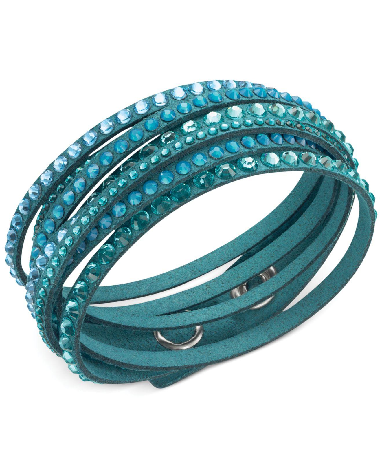 Swarovski Slake Deluxe Crystal Stud Wrap Bracelet In Blue