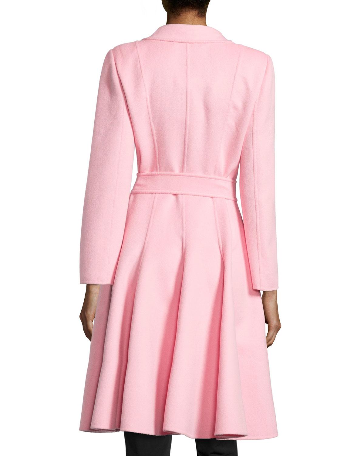 Oscar de la renta Long Swing Coat W/ Belt in Pink | Lyst