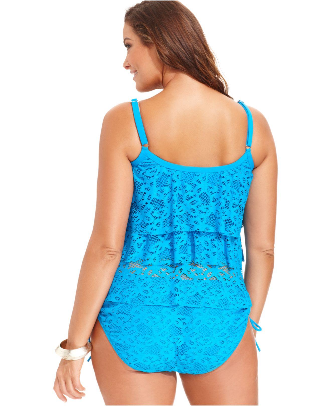 a7380e8b3f2 Lyst - Kenneth Cole Reaction Plus Size Crochet Side-Tie Bikini ...