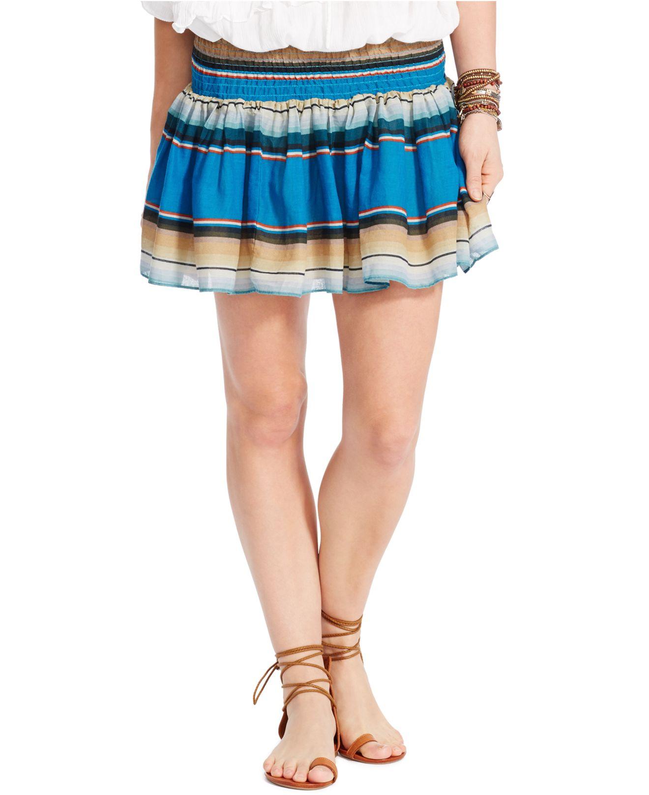 82559118a61 Lyst - Denim   Supply Ralph Lauren Multi-stripe Smocked Mini Skirt ...