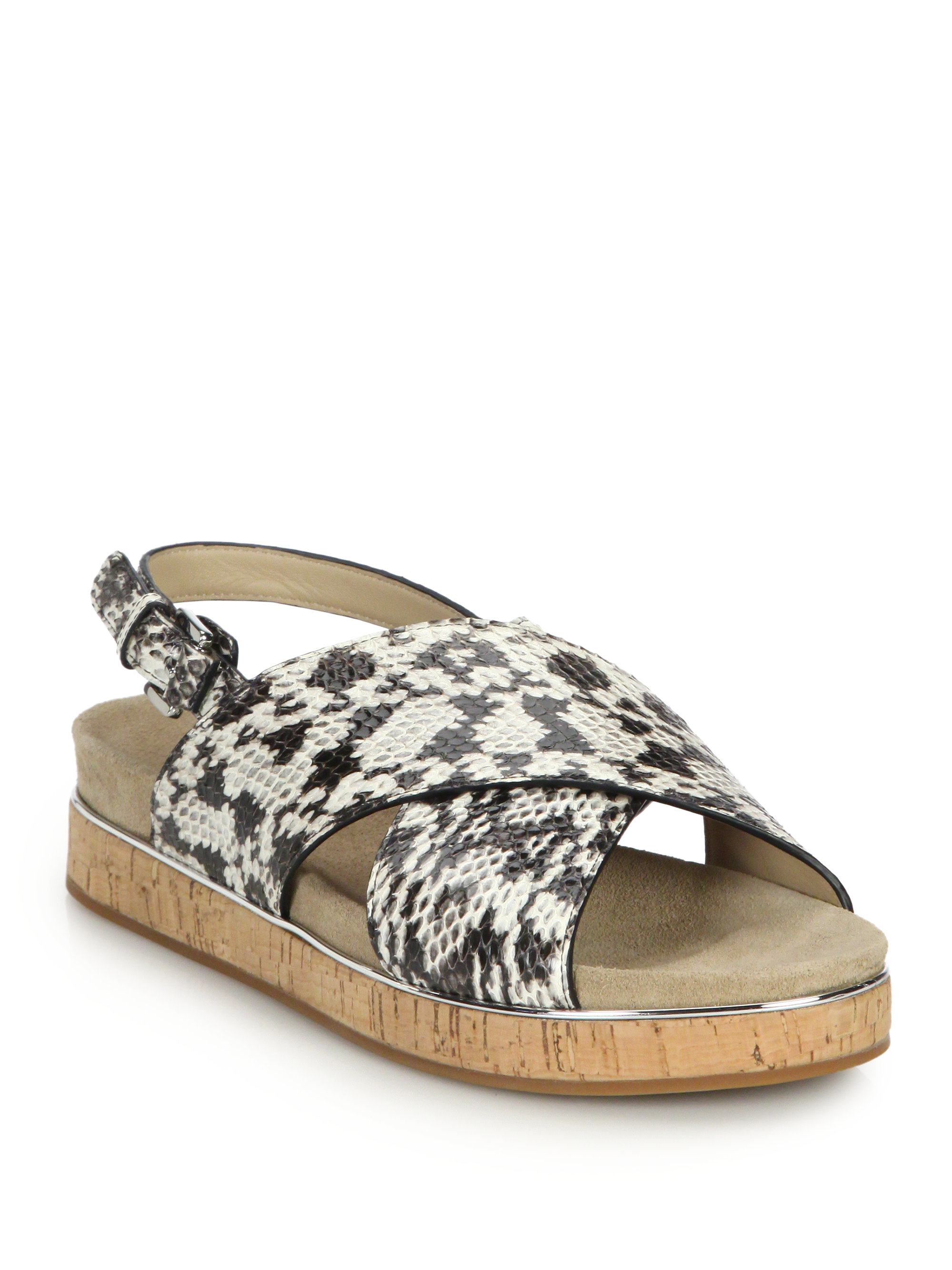 878a2349647f71 Lyst - Michael Kors Halle Flat Snakeskin Sandals in Natural