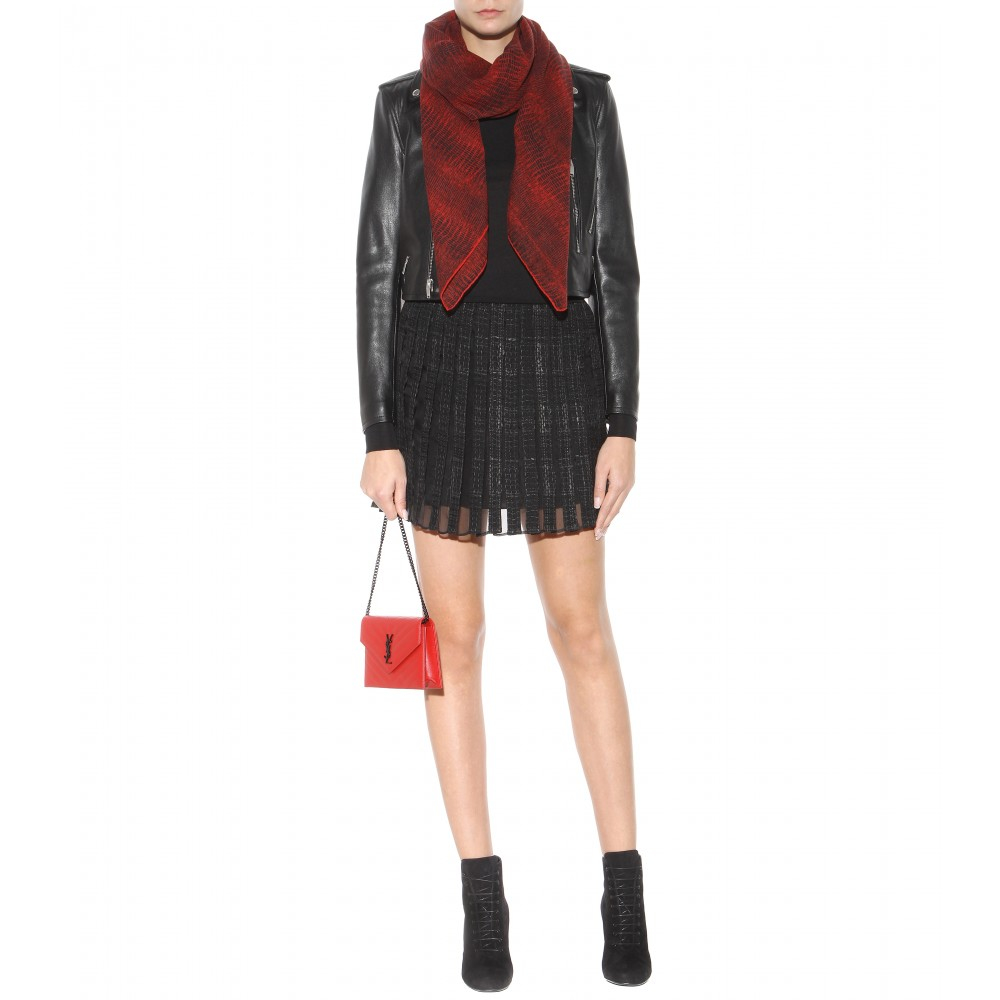 Saint laurent Classic Monogram Quilted Leather Shoulder Bag in Red ...