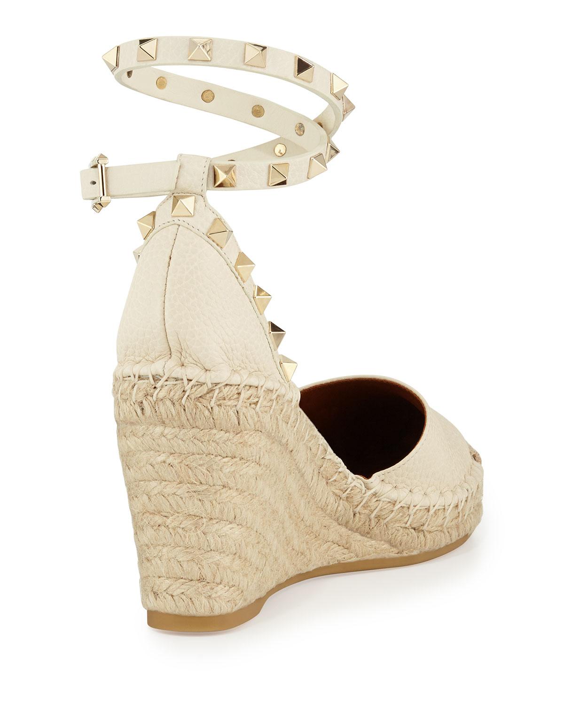 Valentino Rockstud Espadrille Wedge Sandal In White Lyst