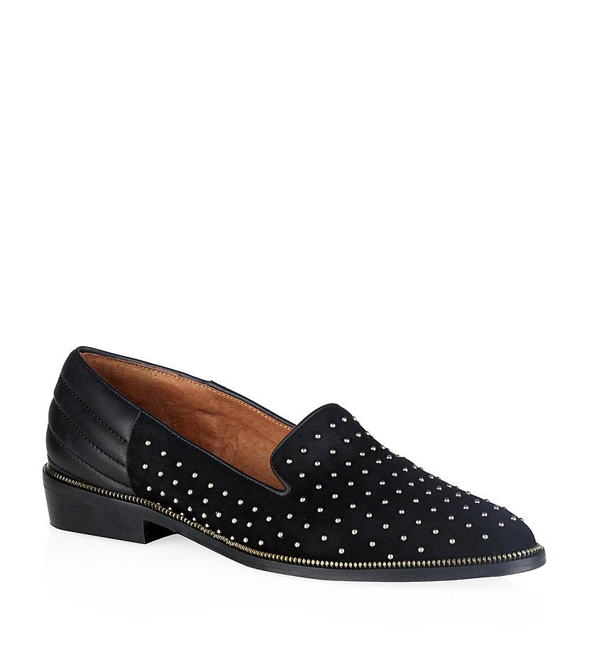 the kooples suede stud slippers in black lyst