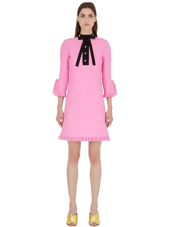 17298de92f3 Lyst - Gucci Silk   Wool Cady Dress in Pink