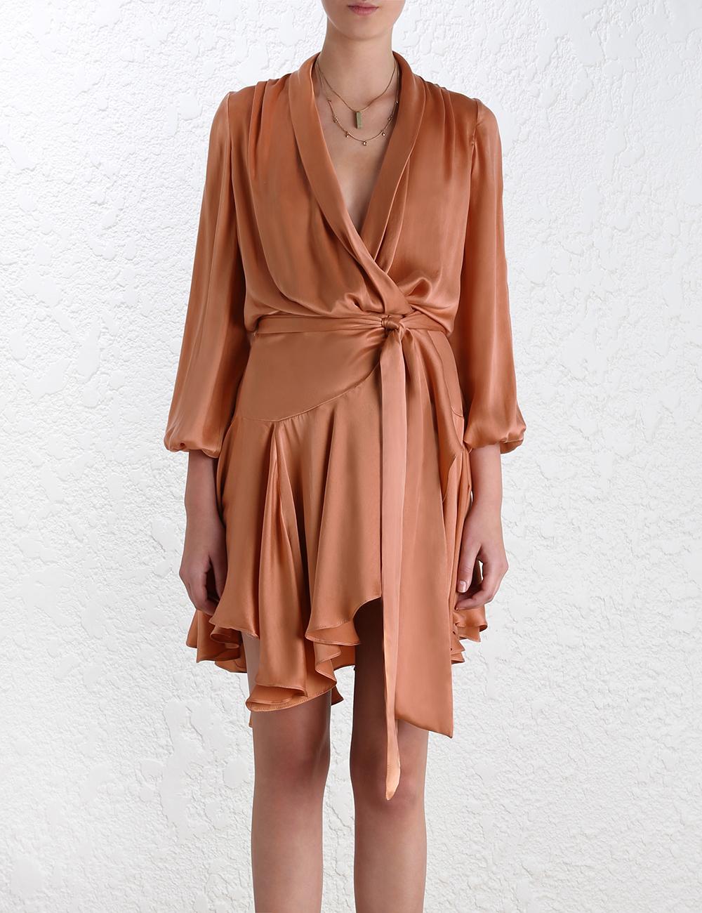 lyst zimmermann empire sueded robe dress in orange. Black Bedroom Furniture Sets. Home Design Ideas