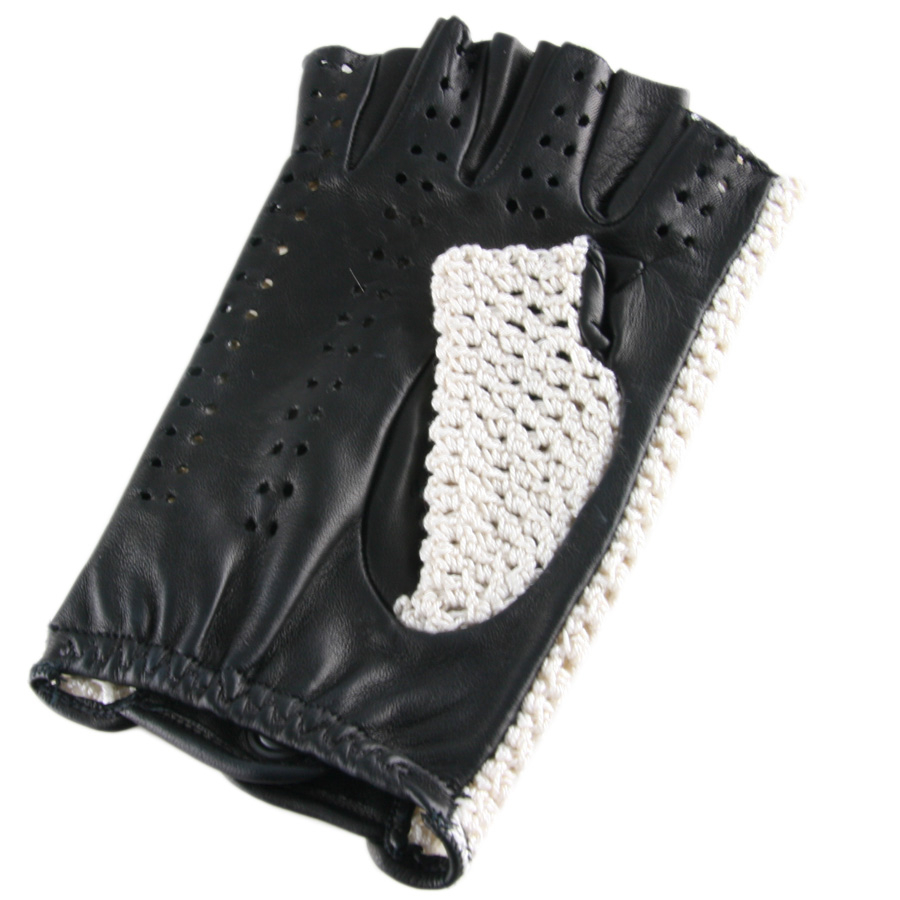 Shorty leather driving gloves fingerless -  Fingerless Driving Gloves Gloves Black Co Uk Mens Cotton Crochet And Black Leather Fingerless