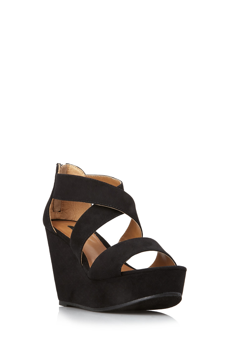 Lyst Forever 21 Strappy Wedge Sandals In Black