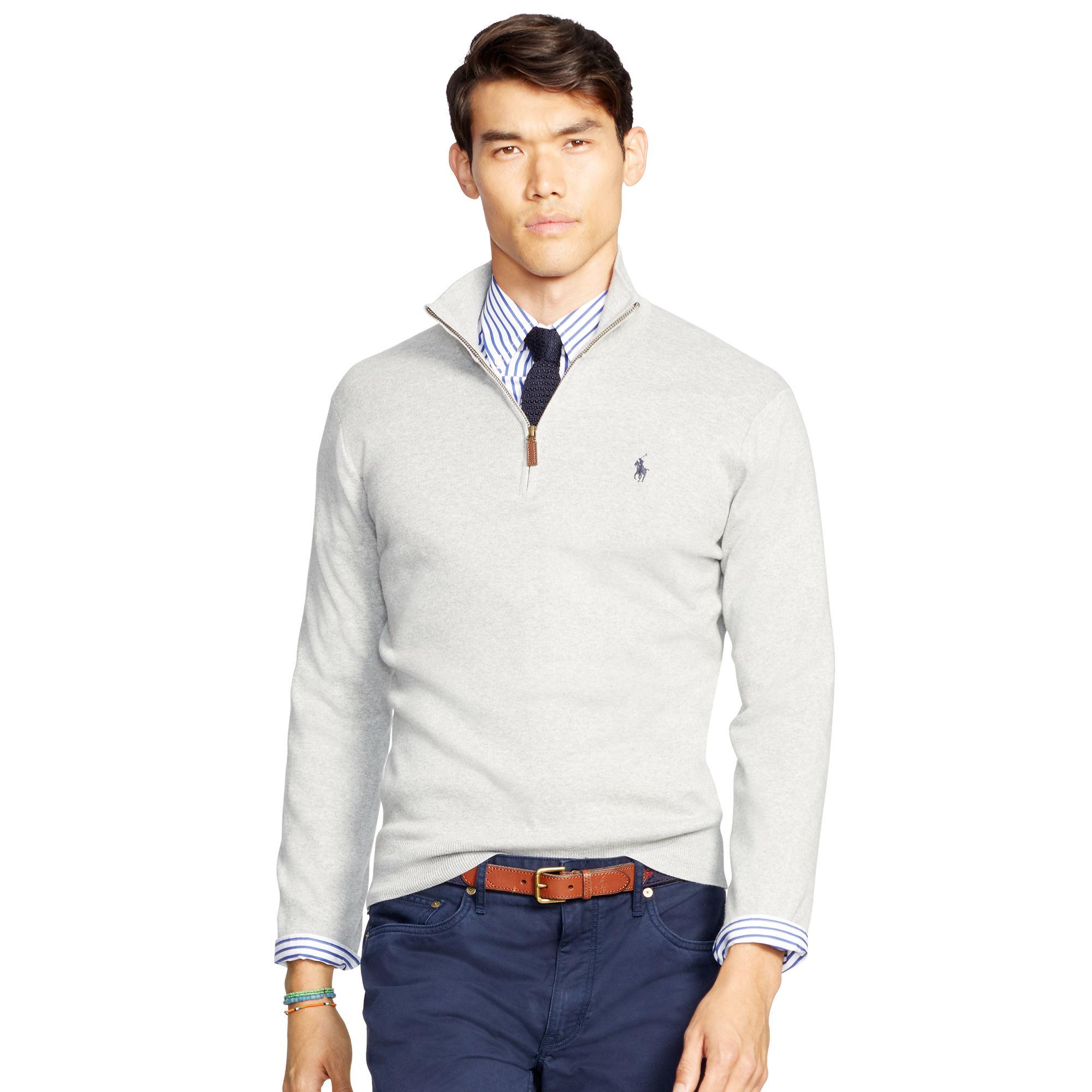1a62dc6b4 Polo Ralph Lauren Pima Cotton Half-zip Sweater in Gray for Men - Lyst