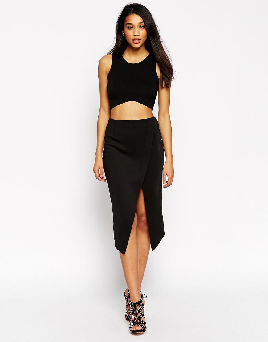 Asos Midi Wrap Skirt With Raw Edge in Black | Lyst