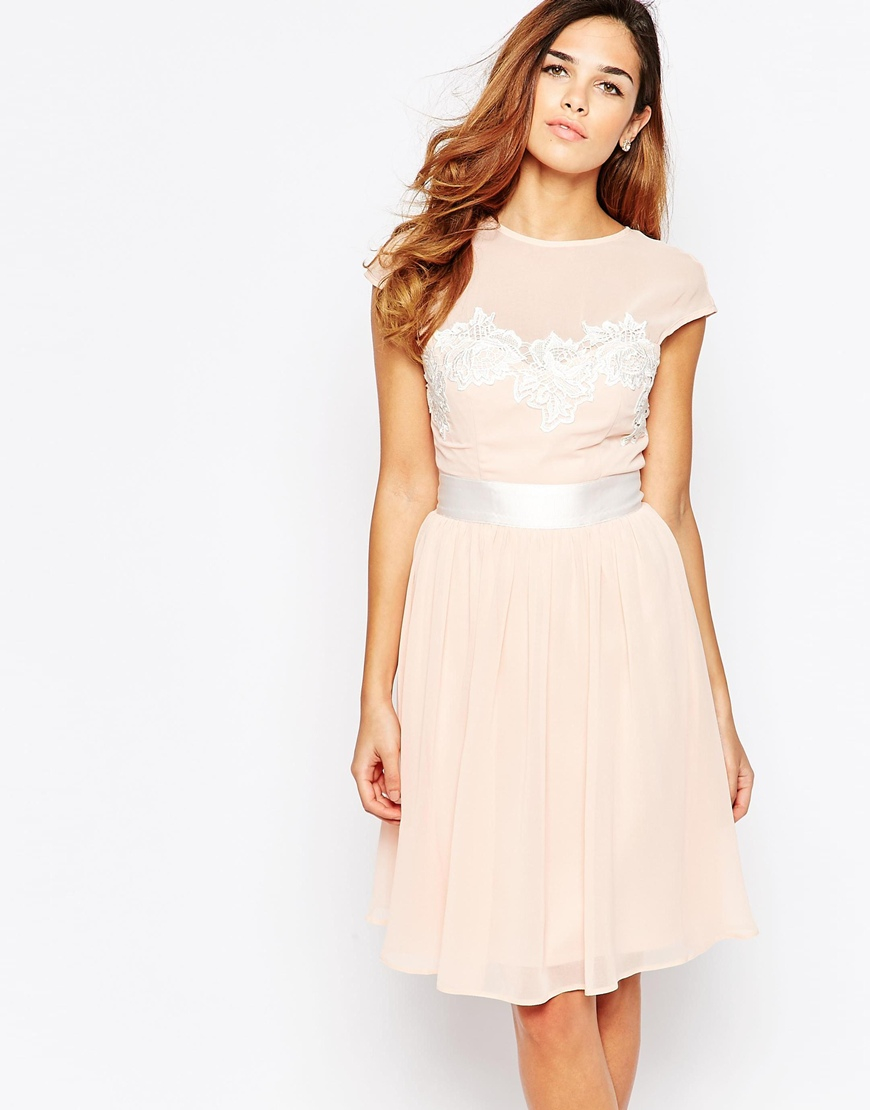 Elise Ryan Midi Skater Dress With Floral Lace Applique In
