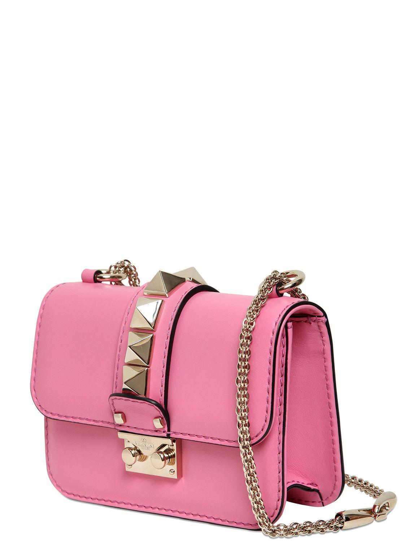 valentino garavani lock mini leather shoulder bag in pink