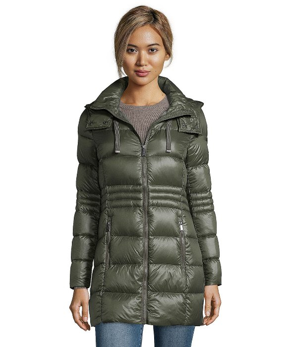 Dkny Olive Green Quilted 3 4 Length Packable Down Jacket