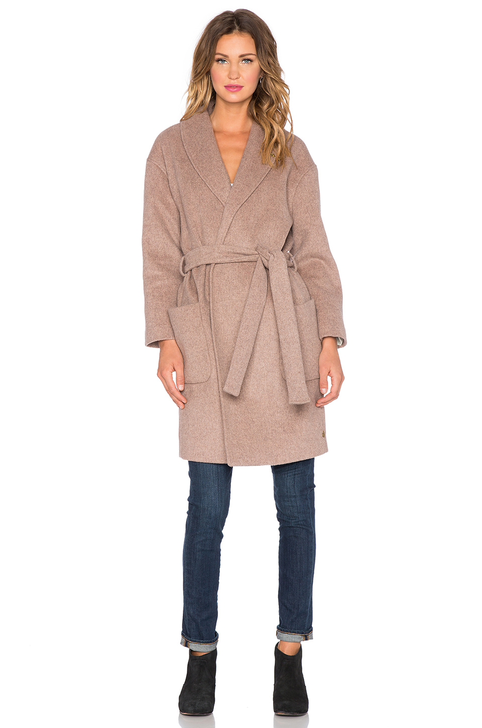 Lyst maison scotch wrap over wool blend robe jacket in pink for Maison