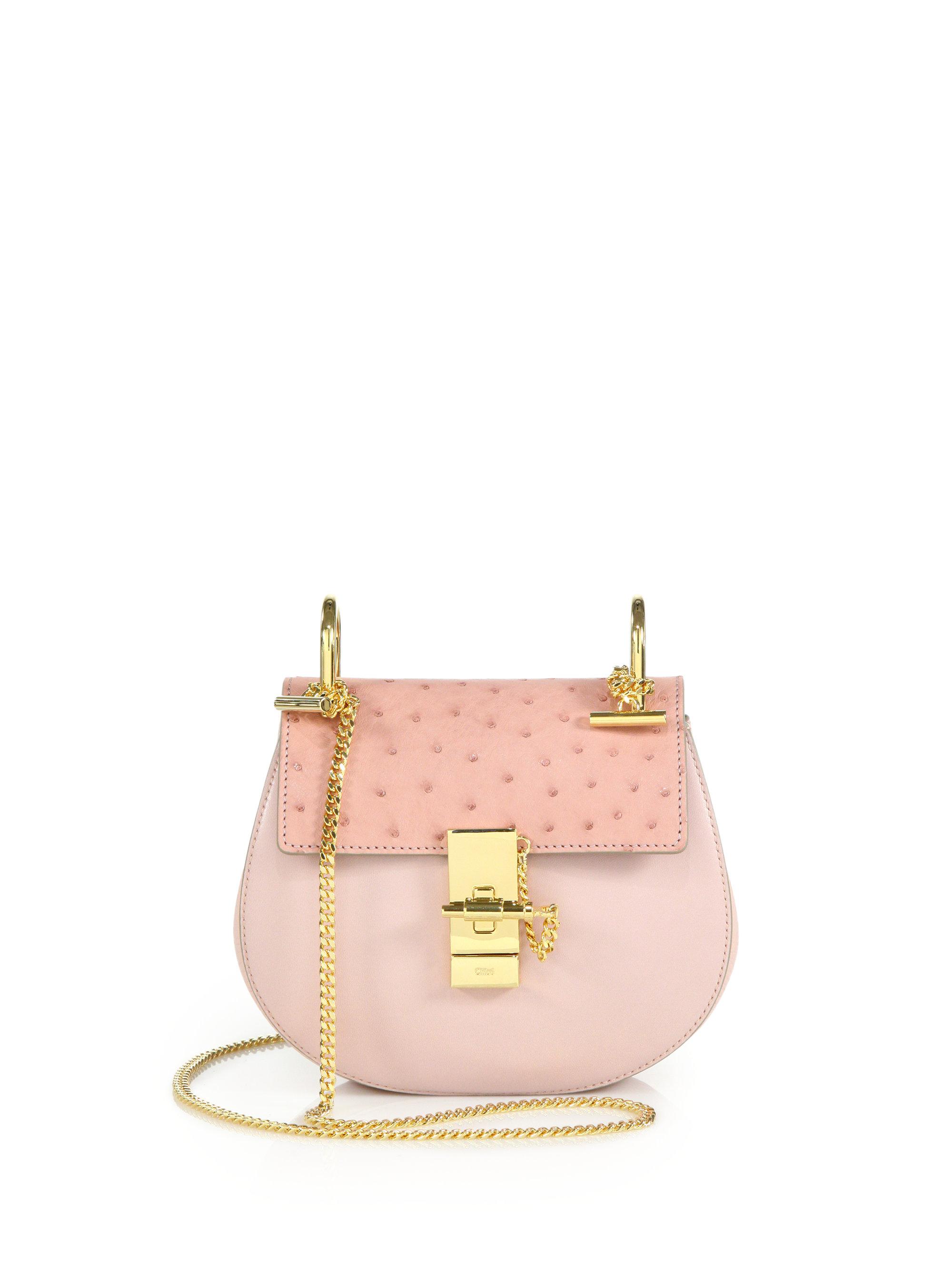 handbags chloe - Chlo�� Drew Mini Leather Cross-Body Bag in Pink (marshmallow)   Lyst
