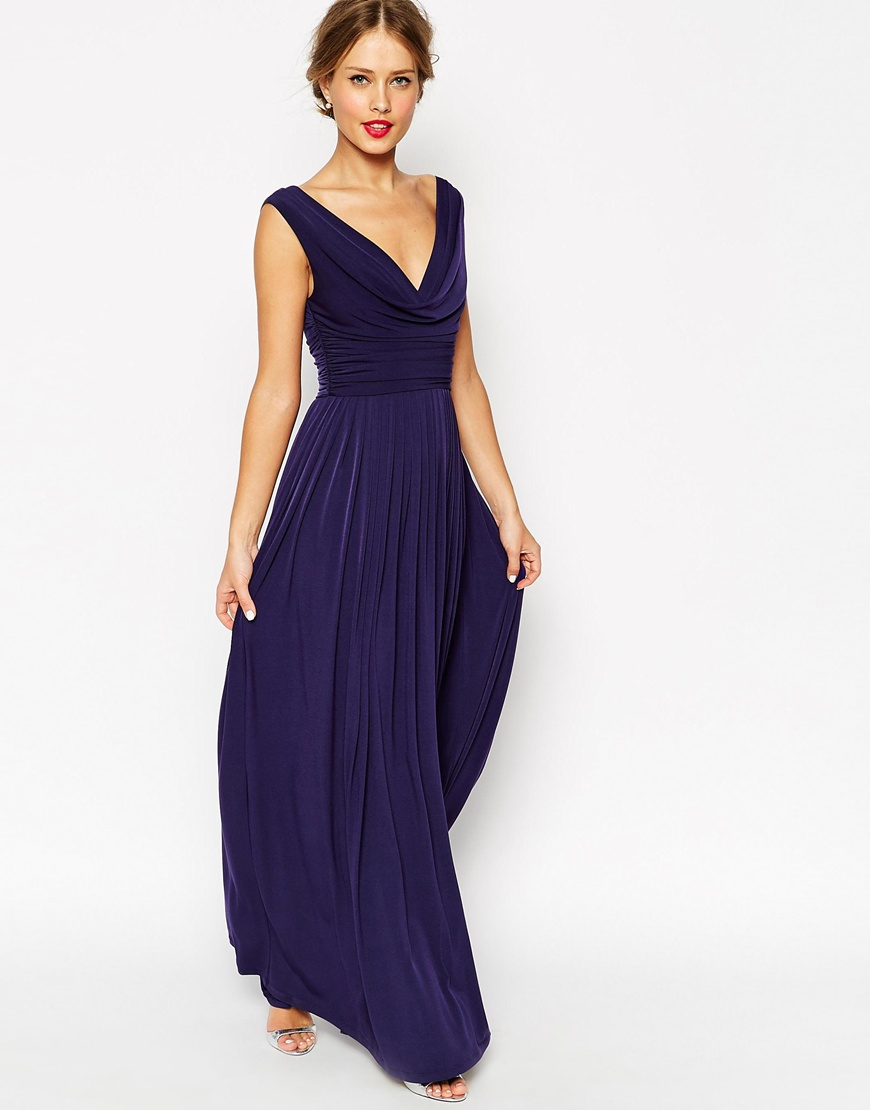 Asos wedding cowl neck maxi dress in blue lyst for Navy blue dresses for weddings