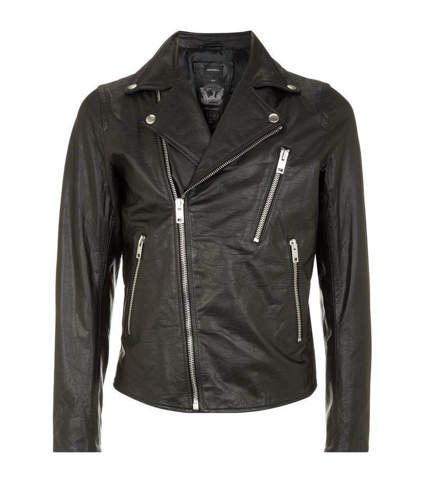 Diesel L Gib Leather Biker Jacket In Black For Men Lyst