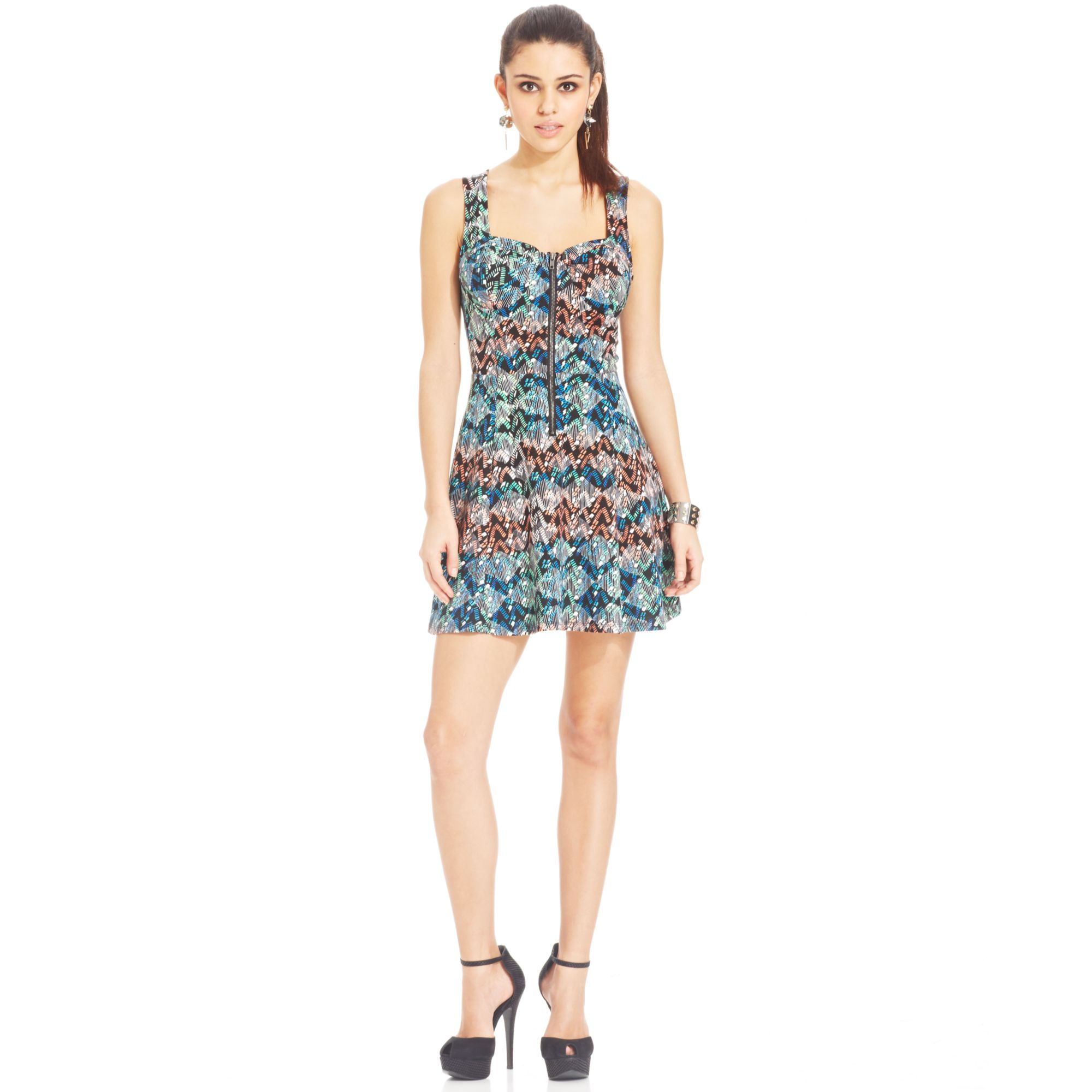 Material Girl Juniors Printed Backcutout Dress Lyst