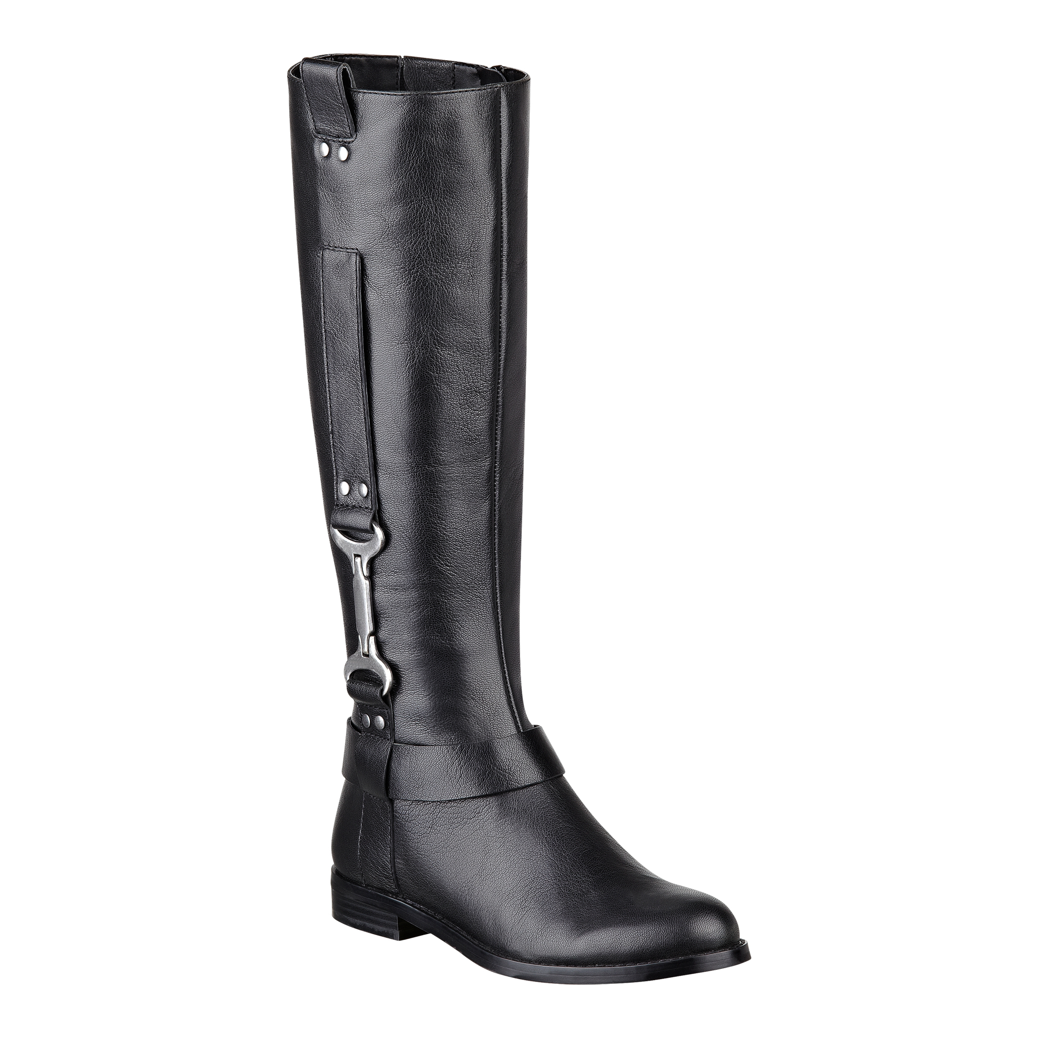 nine west avonna leather boots in black black