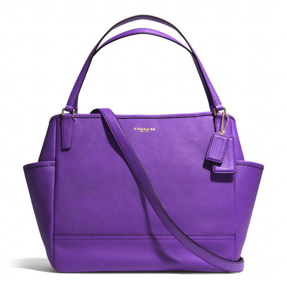 2014c2deb5d5 ... low price lyst coach baby bag tote in saffiano leather in purple acc5b  e726a