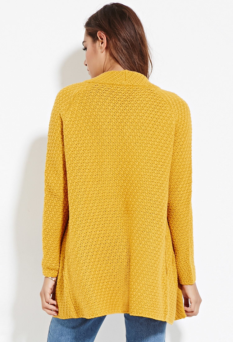 Lyst Forever 21 Longline Open Front Cardigan In Yellow