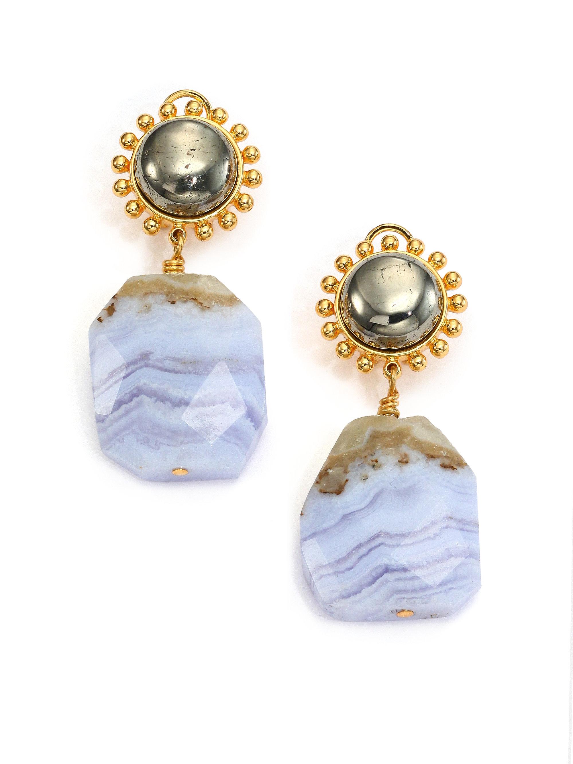 nest blue lace agate drop earrings in metallic lyst