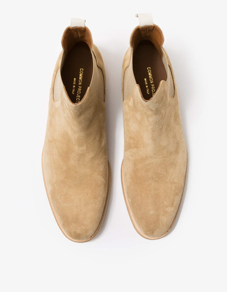 44edc087d466 Lyst - Common Projects Suede Chelsea Boots in Natural for Men