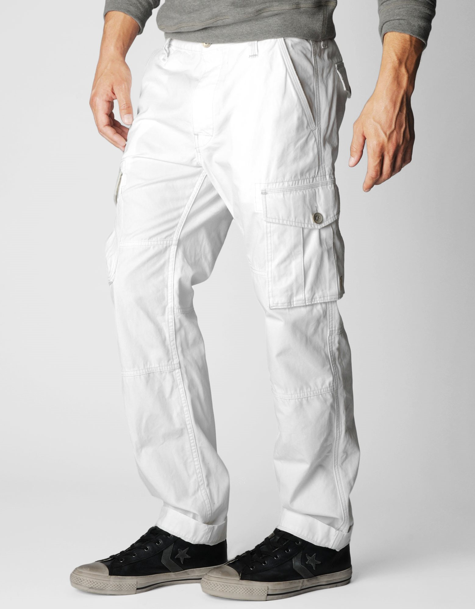 mens white cargo pants - Pi Pants
