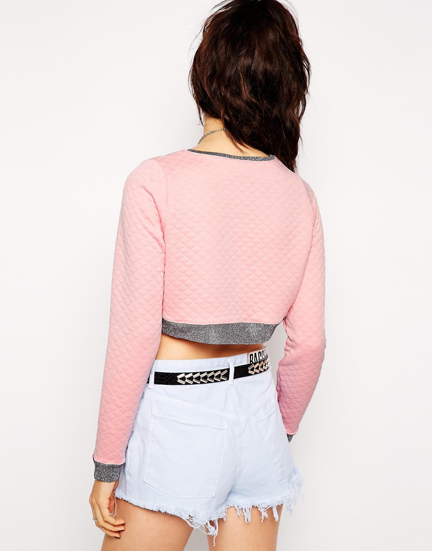 The ragged priest Galaxy Cropped Sweater With Contrast Piping in ...