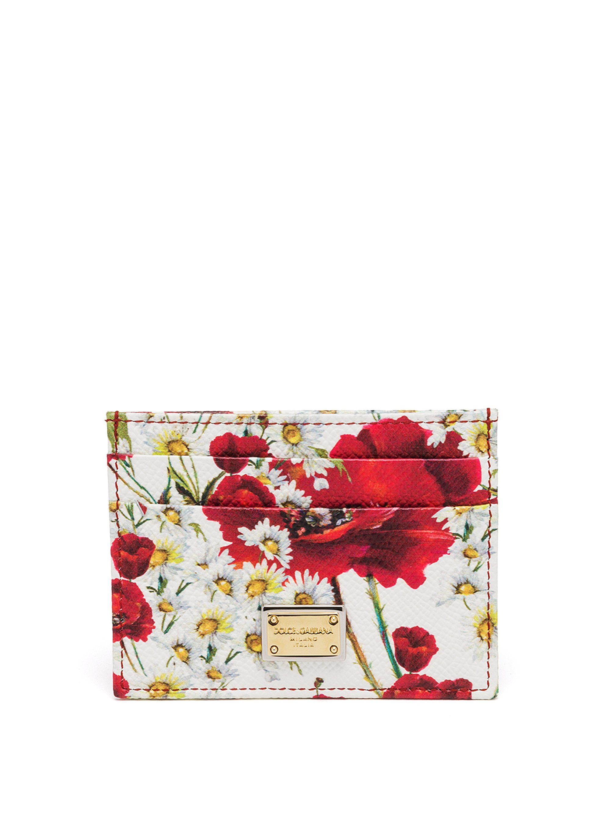 Rose-print leather cardholder Dolce & Gabbana kALKaS