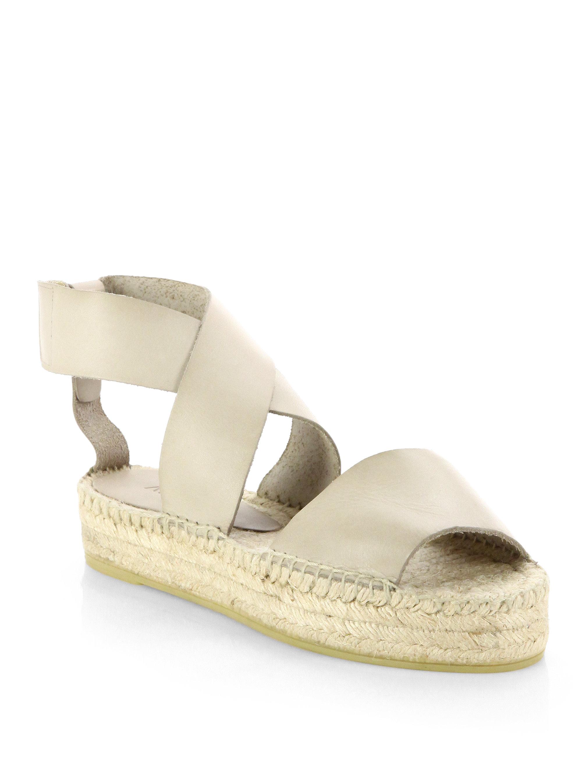 Vince Elise Leather Espadrille Sandals In Beige Luggage