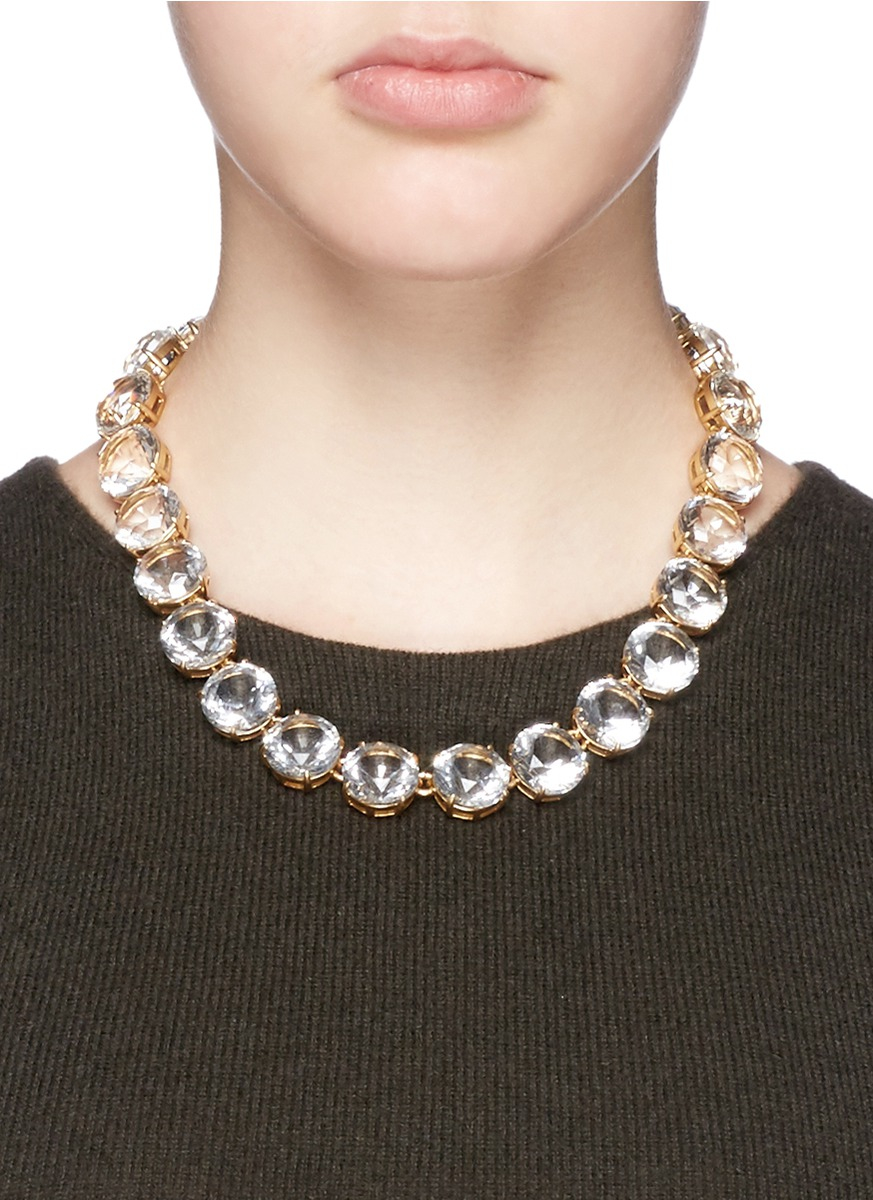 Classic crystal necklace in metallic lyst for J crew jewelry 2015