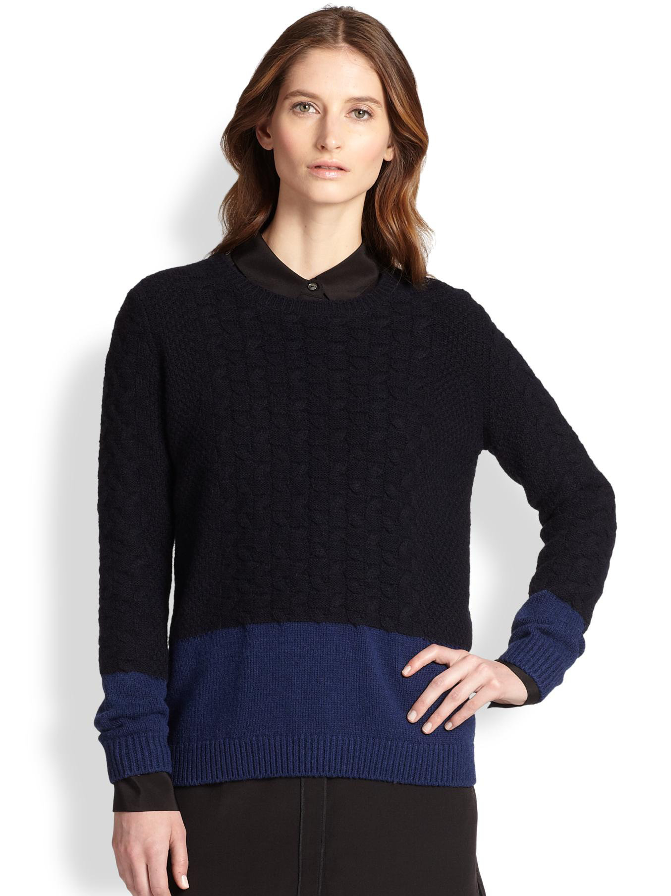 Vince Colorblock Cable-Knit Yak & Wool Sweater in Blue ...