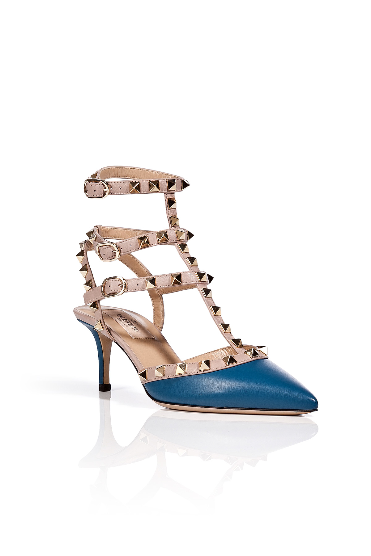 valentino leather rockstud kitten heels in blue in blue lyst. Black Bedroom Furniture Sets. Home Design Ideas