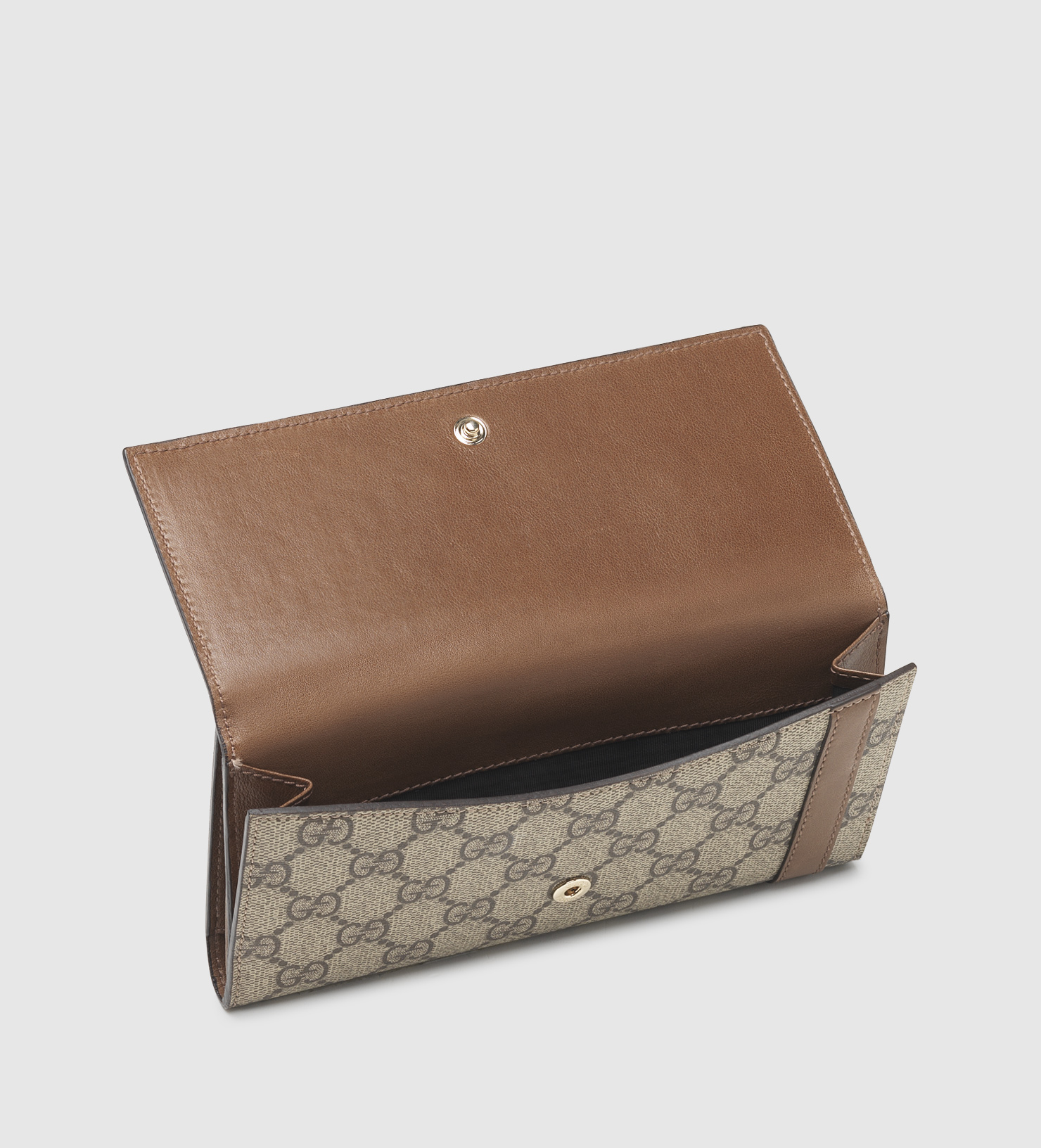 f8608ae2248aab Gucci Nice Gg Supreme Canvas Continental Wallet in Brown - Lyst