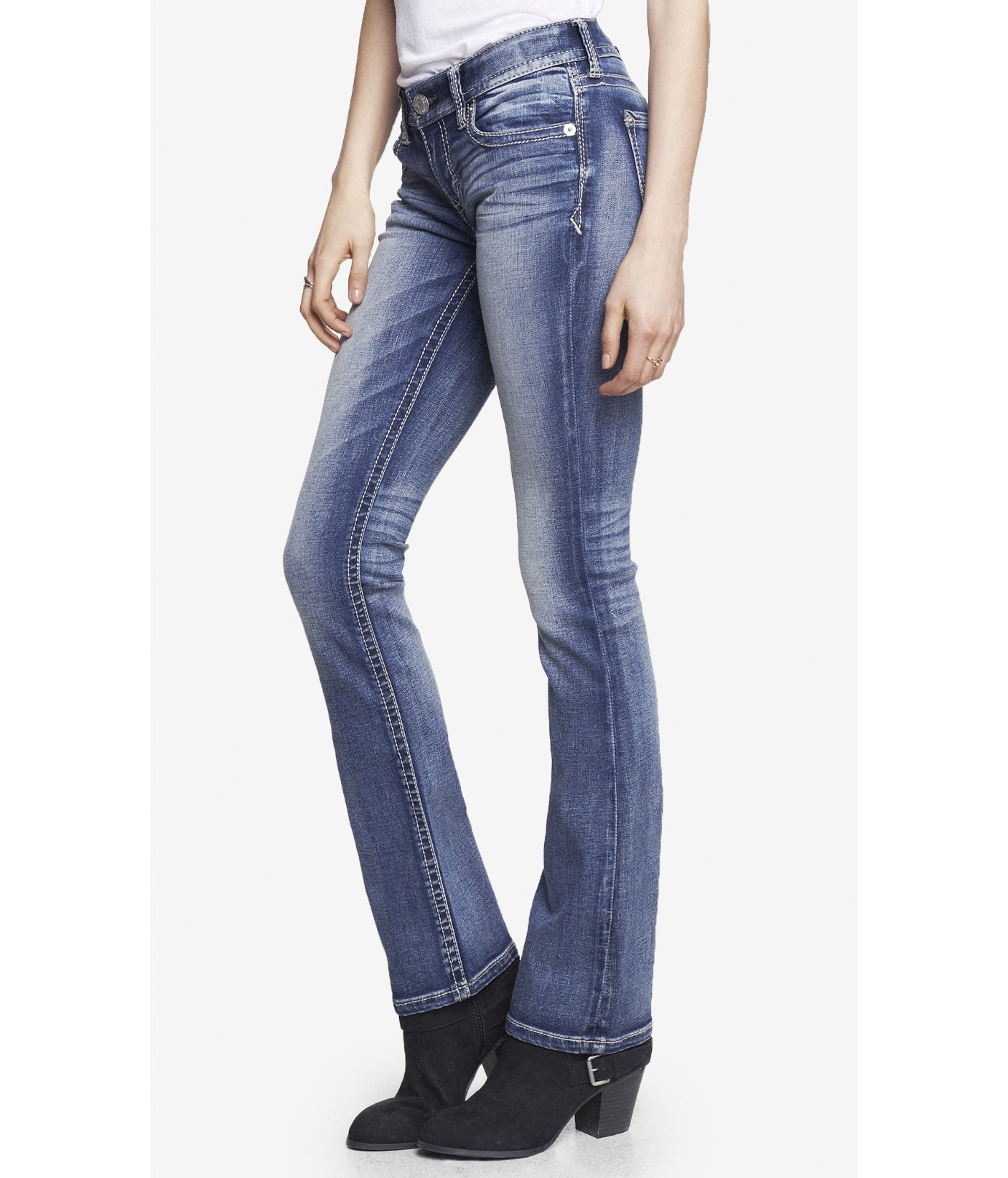 0ed96d5679d Express Medium Wash Low Rise Thick Stitch Barely Boot Jean in Blue ...