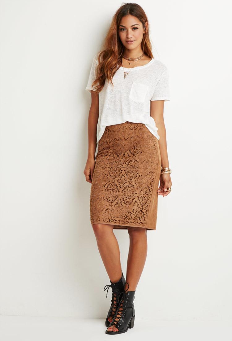 Forever 21 Laser-cut Faux Suede Skirt in Brown | Lyst