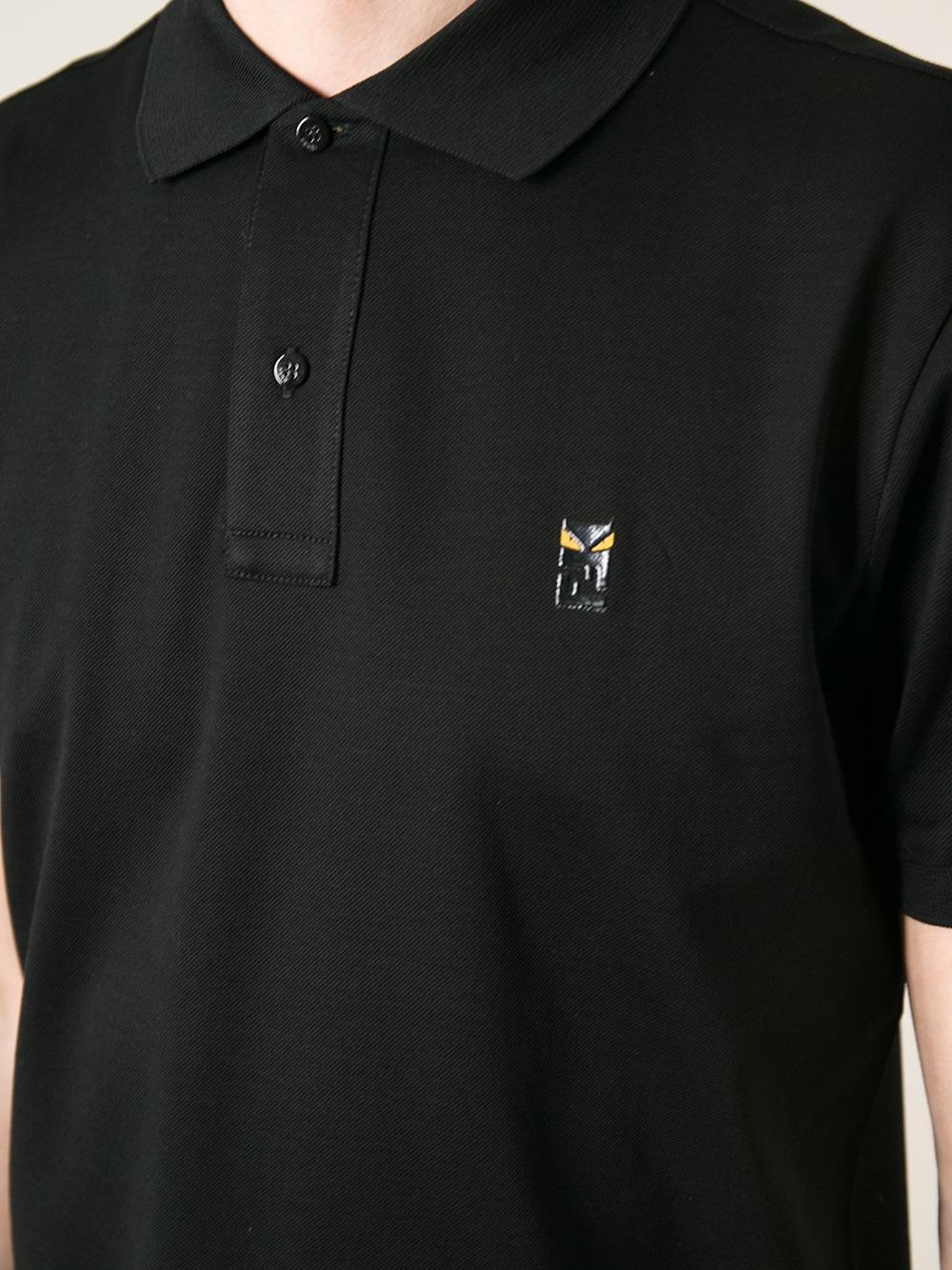 64cd6aaa513 Lyst - Fendi Short Sleeve Polo Shirt in Black for Men